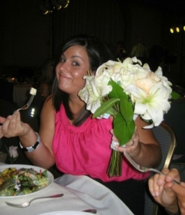 Sometimes the bride quickly hands off her bouquet to dance and you keep eating because your priorities are intact.
